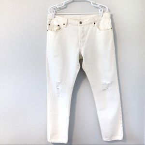 """LEVIS 501 CT WHITE DISTRESSED SKINNY JEANS 29x34"""""""